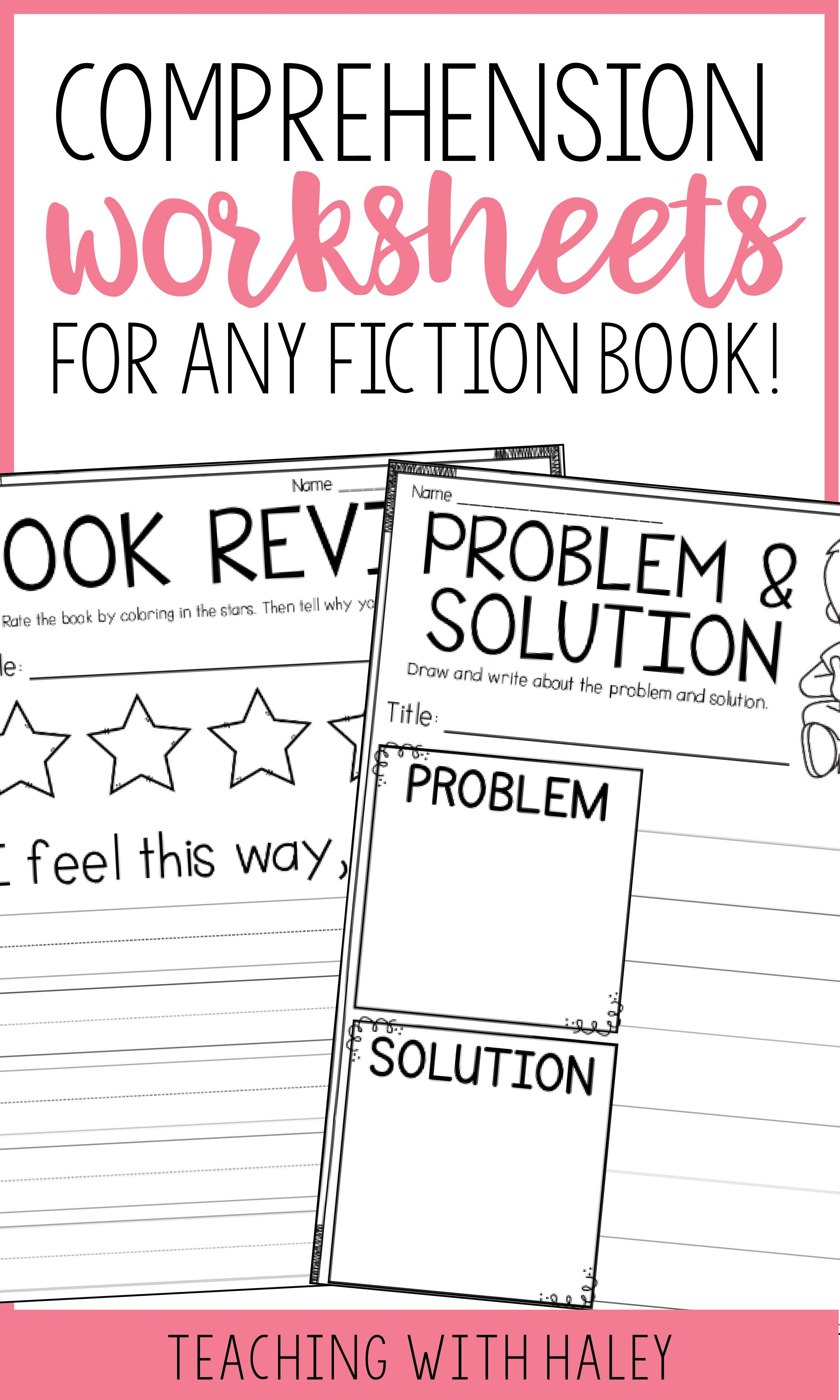 Comprehension Pages For Any Fiction Book In