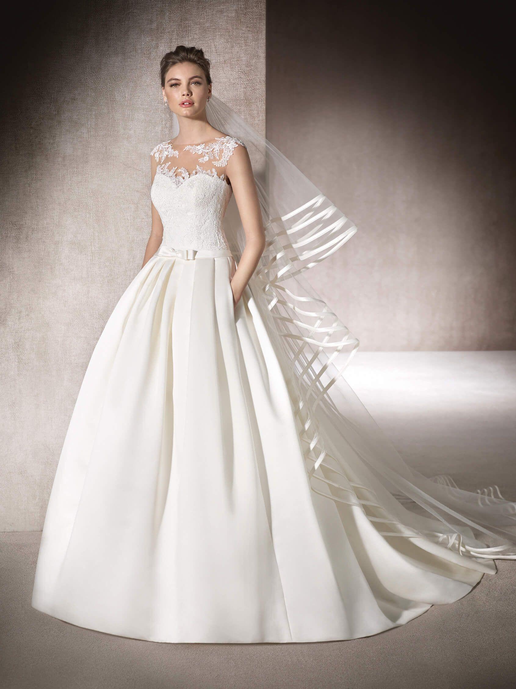 Fashion Lace Appliques Embellished Long A-line Pocket MYRNA Wedding ...