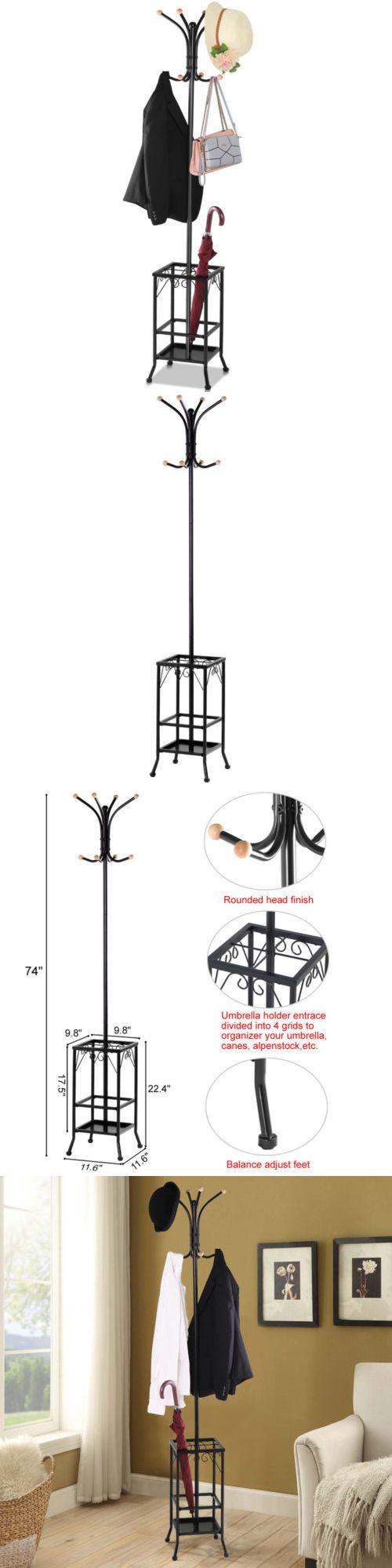 Hallway storage stand  Hall Tree Metal Coat Rack Umbrella Holder Hat Hooks Clothes Storage