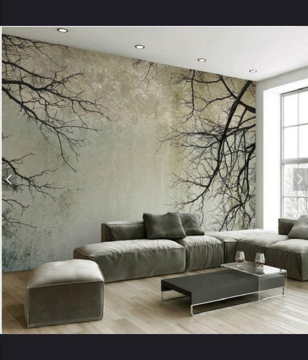 Custom vintage wallpaper, minimalist tree branches