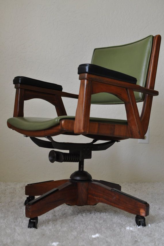 Mid Century Modern Sculpted Walnut Teak Rolling Executive Chair Stanley Manuf Co Bassick Casters Danish Mode Modern Office Chair Chair Vintage Office Chair