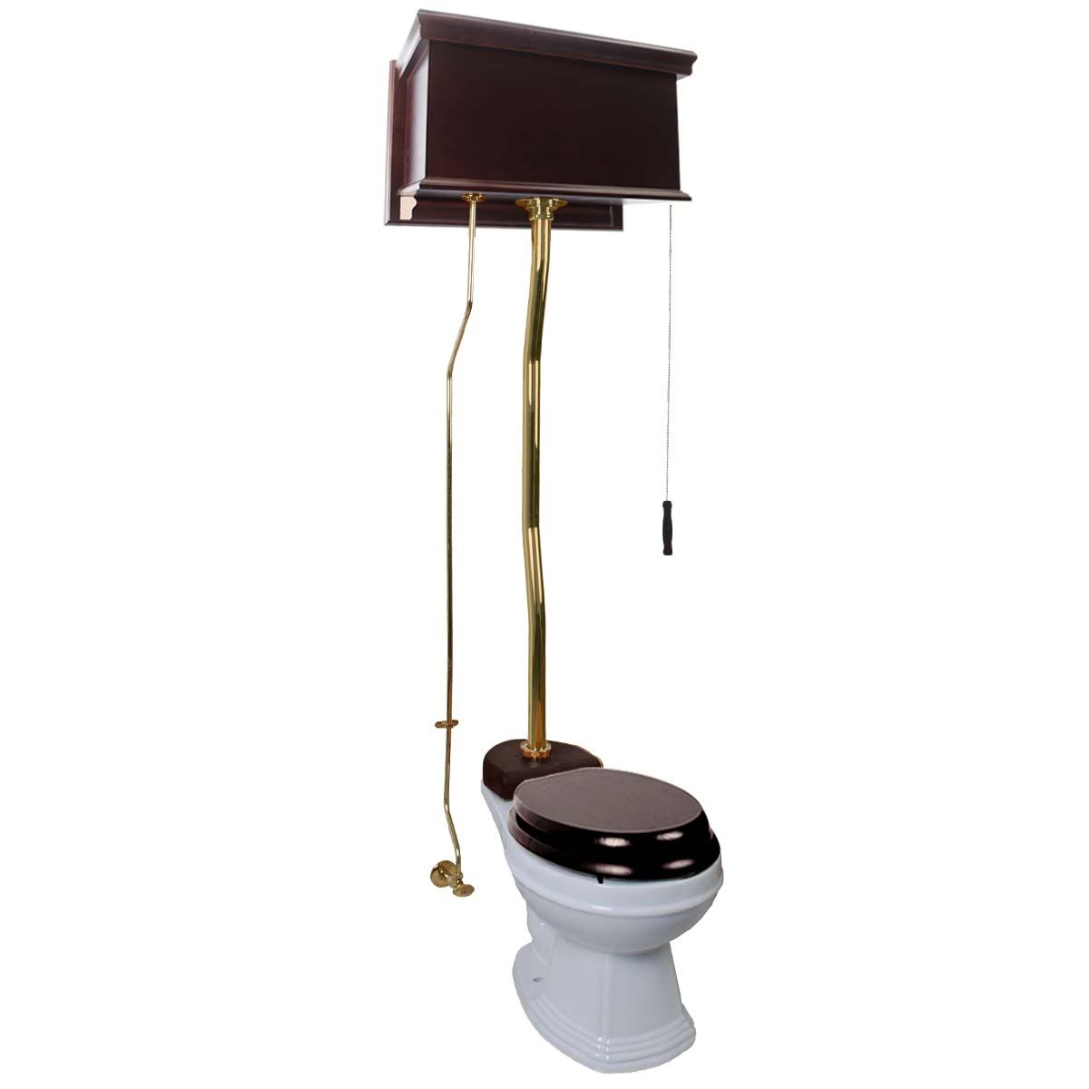High Tank Pull Chain Toilet Item #20142  Dark Oak High Tank Pull Chain Toilet White Elongated