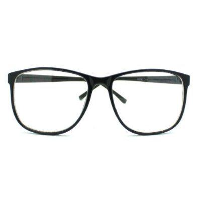 Black Large Nerdy Thin Plastic Frame Clear Lens Eye Glasses Frame ...