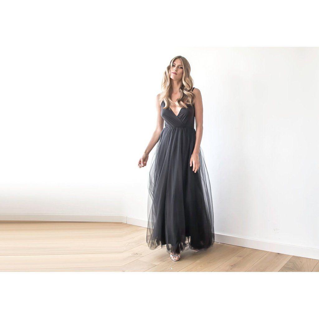 Black straps maxi tulle dress black straps maxi tulle dress