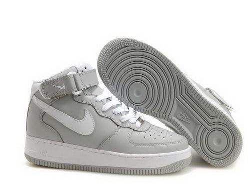 official photos ea810 d65f4 Cheap Air Force One High Tops Men Grey White Shoes