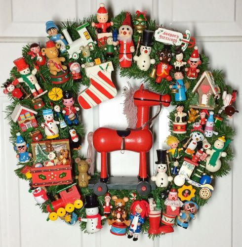 handmade vintage christmas wooden ornament wreath ebay - Ebay Vintage Christmas Decorations