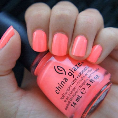 Neon coral nail polish, perfect for summer | Beauty | Pinterest ...