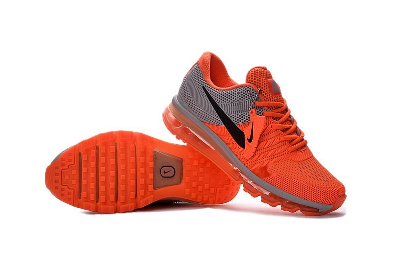new product 7fabb dd8f9 Nike Air Max 2017 Orange Grey Running Men Shoes Hot Sale