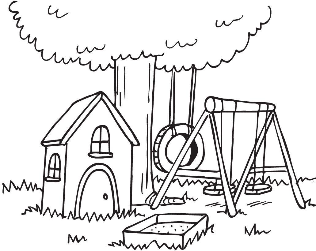 Backyard Clipart Black And White