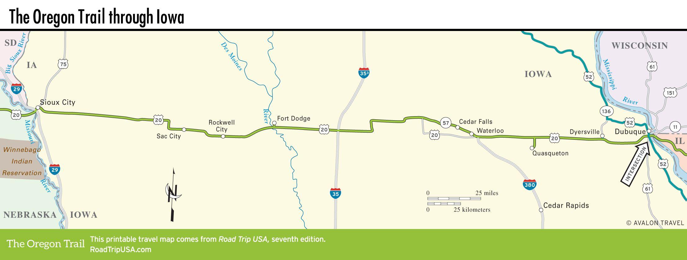 map of the oregon trail through iowa