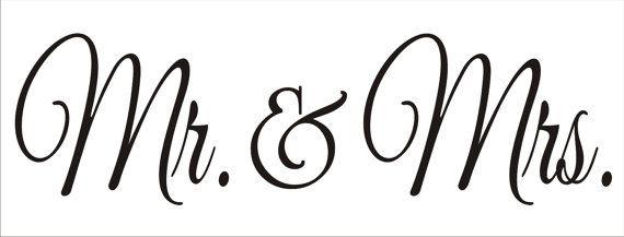 Mr & Mrs Wedding Sign Stencil 3 Pc. Stencil Por