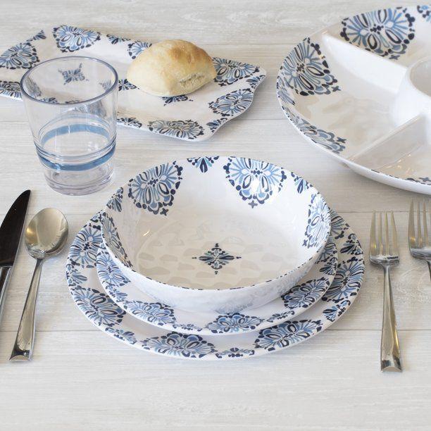 Better Homes & Gardens Outdoor Melamine Barlesso Dinnerware Set, 12 Piece, Service for 4 - Walmart.com