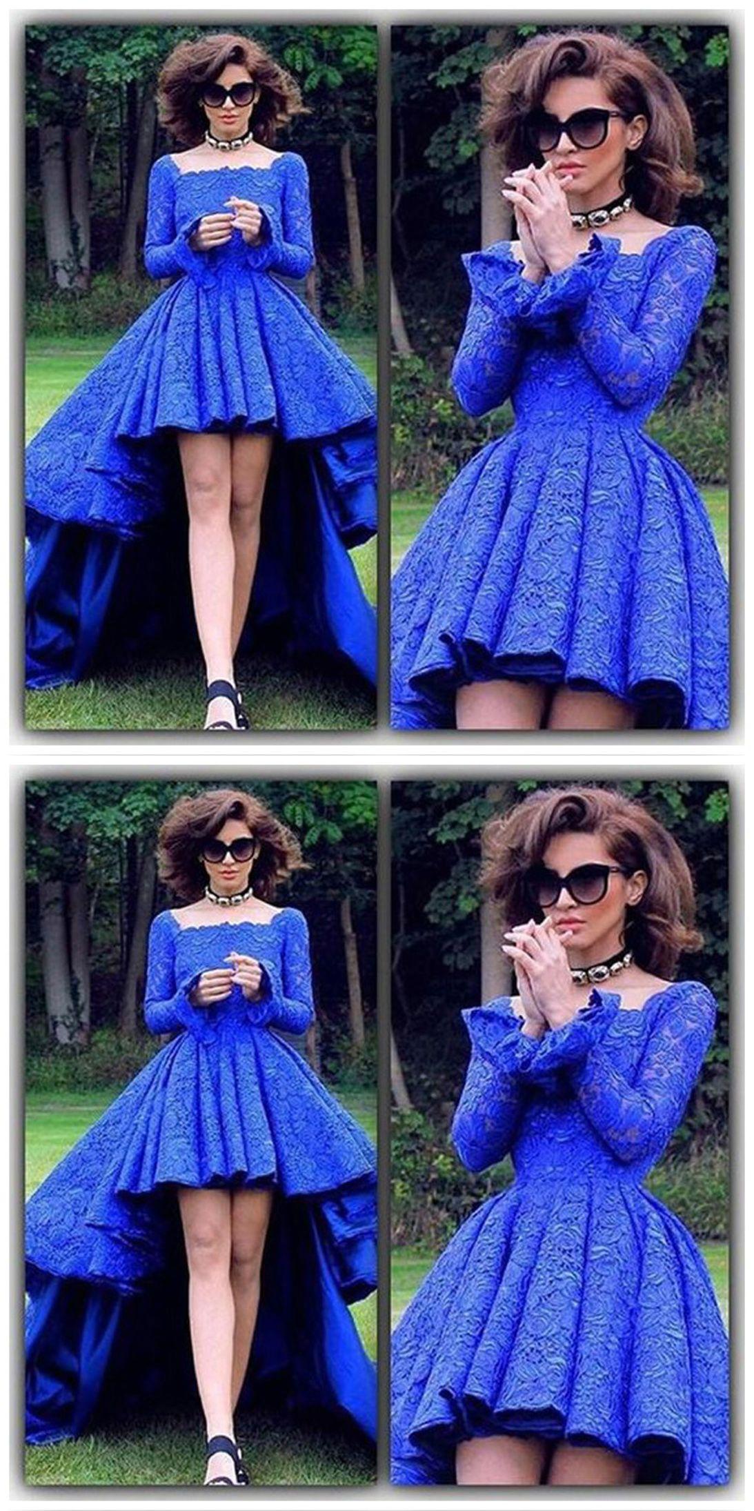 Cheap prom dresseshigh low prom dresslace prom dressesroyal blue