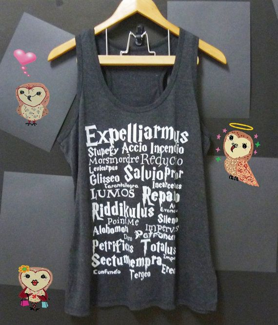 Harry Potter tank top light BLACK LumosAccio magic by CuteClassic