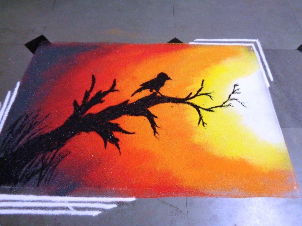 How to make sunset poster rangoli k154