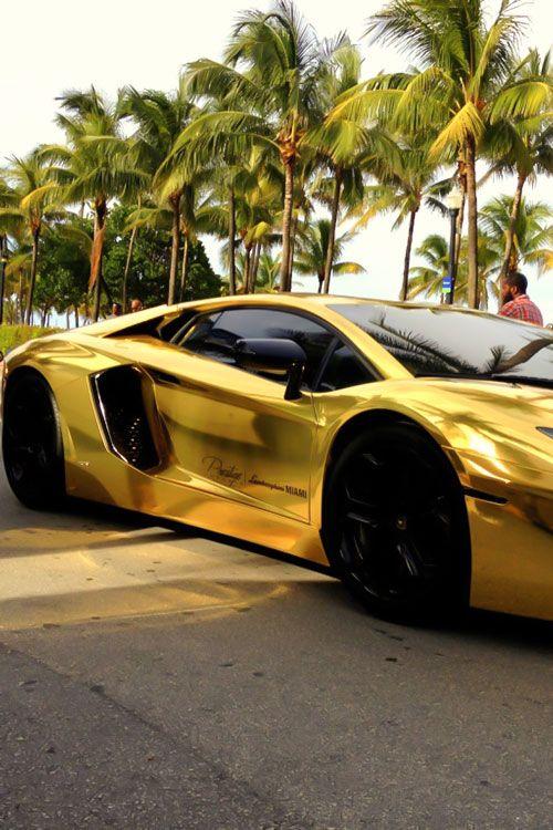 Gold Car Aventador Gold Car Aventador Sports Cars Luxury