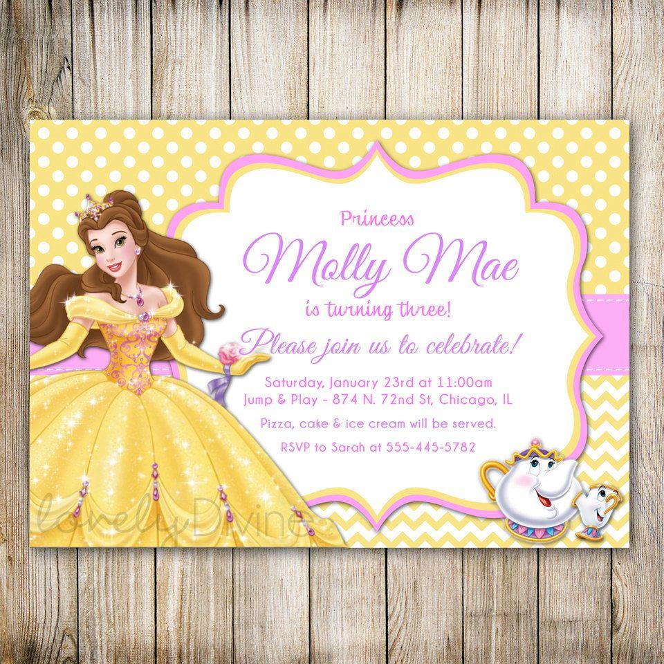 Belleza y la bestia cumpleaños invitación invitación de la ...