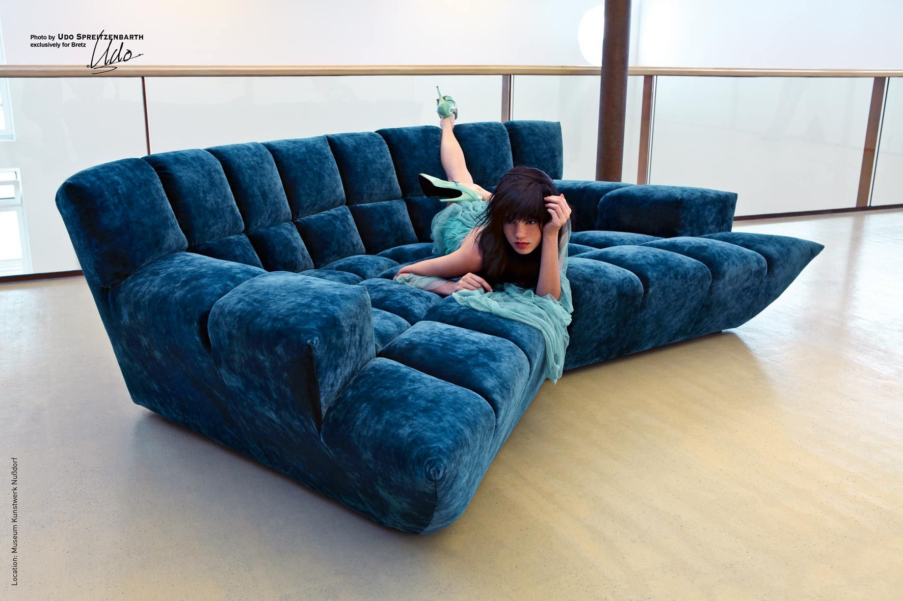 Cloud 7 Sofa Ocean Blue Velvet Sofa Designed By Magdalena