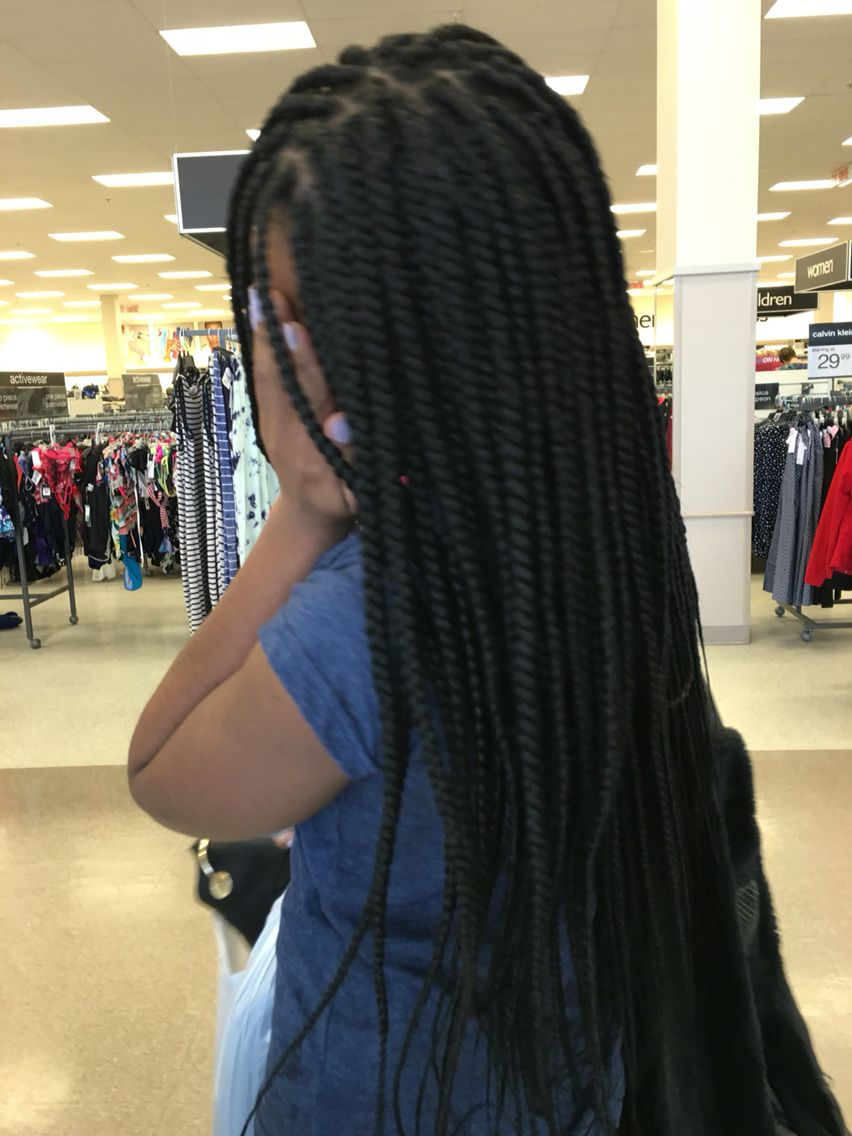 Medium Size Box Braids Waist Length Xpression Ultra Braid Box Braids Braided Hairstyles Box Braids Women