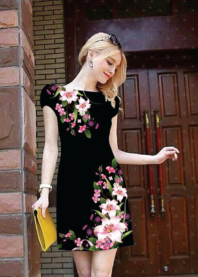 Đầm suông nền đen in hoa ly 3D-MD1505 Giá: 320.000đ