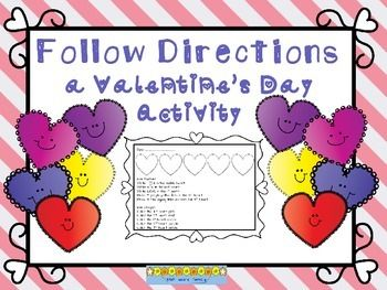 Students will love the pretty designs they make when they follow directions to decorate these hearts. Following directions helps young children develop their receptive language skills.  Check out these other Valentine's Day products: Valentine Problem Solving Task Cards   DOLLAR DEAL: Valentine's Primary Math Packet FREEBIE  Valentine Themed Fact Sorting Math Center  St Patrick's Day and spring are not as far away as you think!