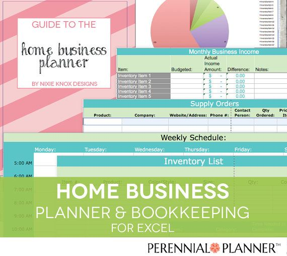 Home Business Planner - 2018 2019 Excel Spreadsheet - Etsy Seller