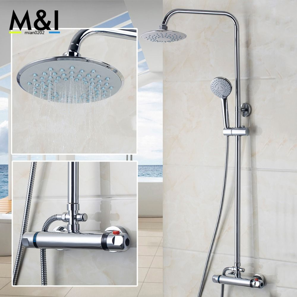 Bathroom Wall Mounted Rain Shower faucets Set Stainless steel top ...