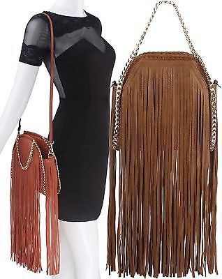 Handbag Republic® Long Fringe Messenger w/ Chain Detailing- Brown