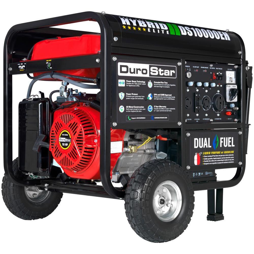Durostar 8,000-Watt Electric Start Red Dual Fuel Powered ...