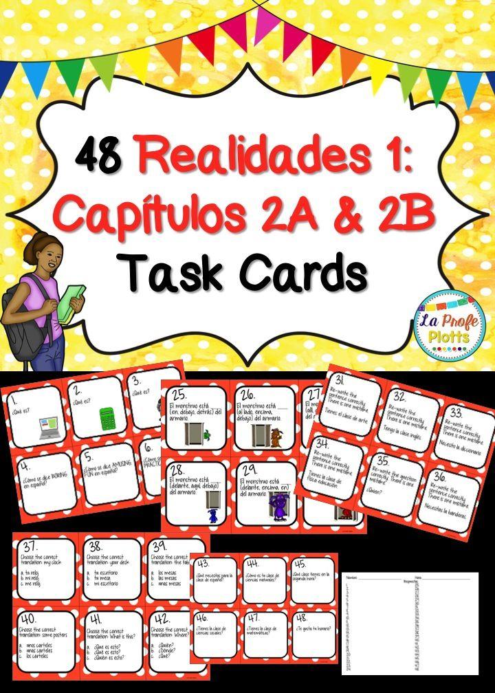 Printable Worksheets realidades 1 worksheets : Spanish Realidades 1: Capítulos 2A & 2B Task Cards | Textbook ...