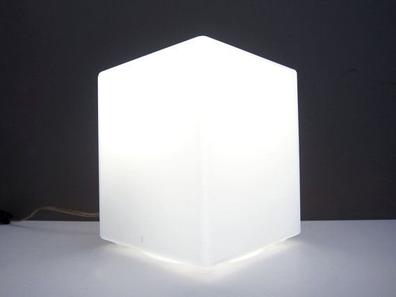 Laurel Cube Lamp Frosted Glass Mid Century Modern Mod