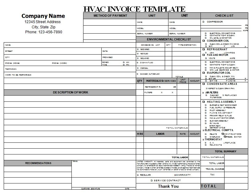 HVAC Repair Invoice Download