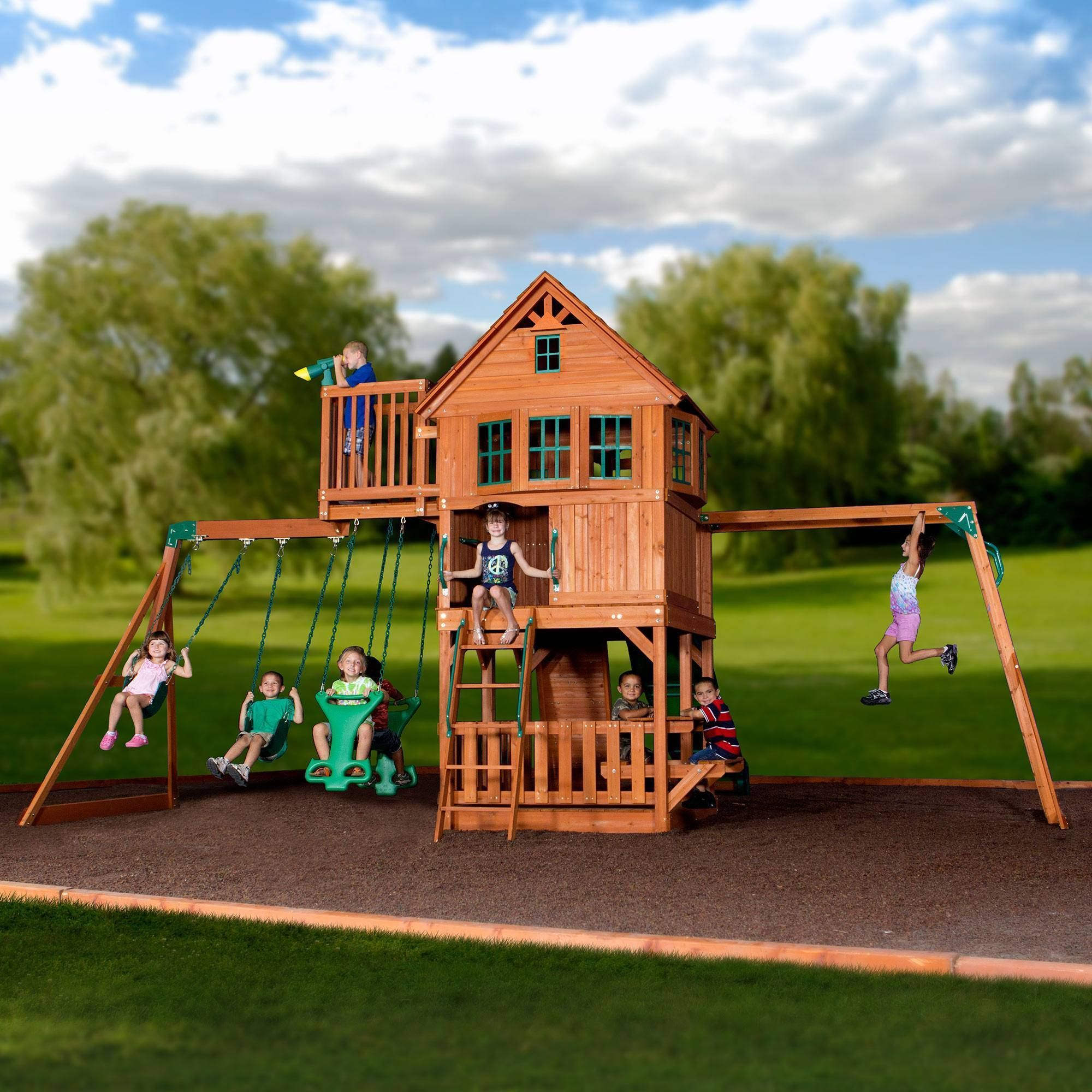 skyfort ii wooden swing set outdoor playset play fort and