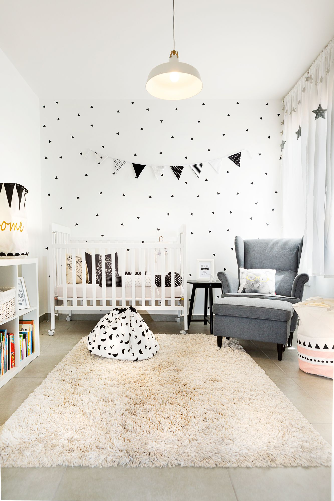 Baby Boy Room Design Pictures: Black And White Geometric Design Baby Room Ikea Style By