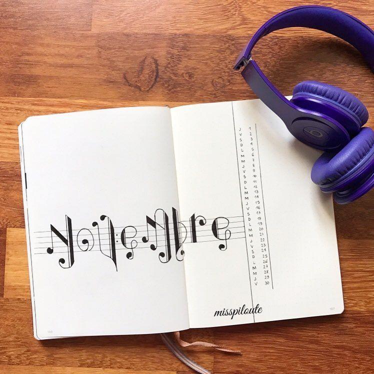 12 Music Themed Bullet Journal Spreads #septemberbulletjournalcover