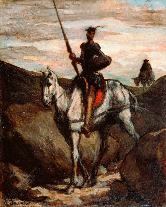FIGURE HORSE DAUMIER DON QUIXOTE Painting Portrait Canvas art Prints