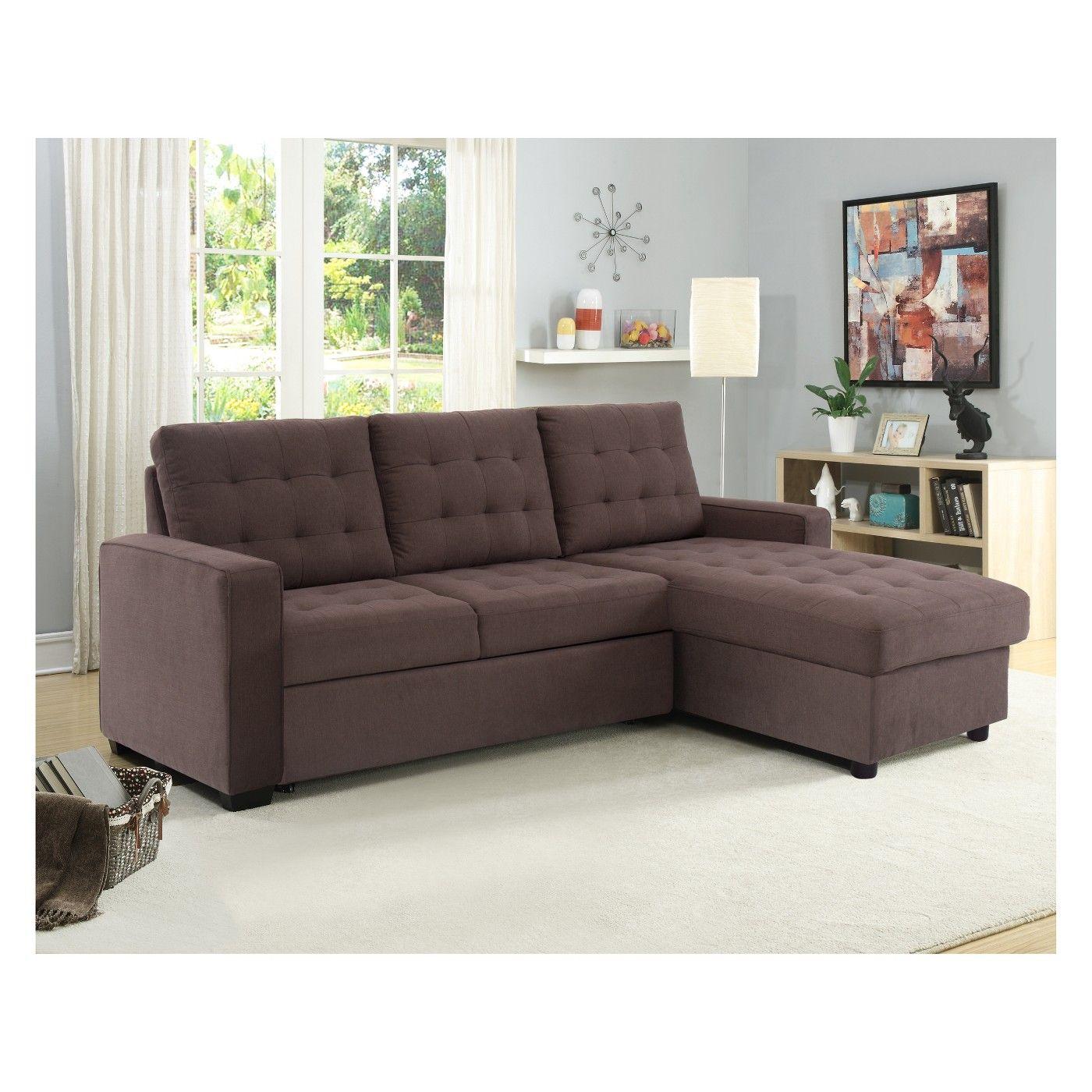 Bernard Tufted Microfiber Convertible Sofa with Storage in Espresso ...