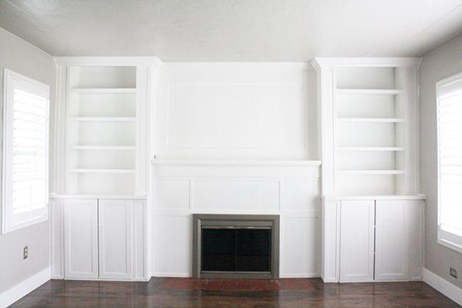 Ikea hack built ins use inexspensive ikea cabinet and billy bookcase to make custom cabinets - Inbuilt bookshelves ...