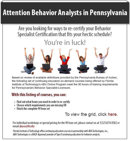 Pennsylvania Behavior Analysts Specialists Re Certify Accrue Professional Development Credits Behavior Analyst Behavior Analysis Applied Behavior Analysis
