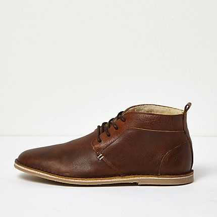 Mens Brown borg lined leather desert