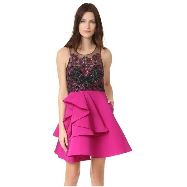 Marchesa Notte Sequin Embroidery Cocktail Dress (925 CAD) ❤ liked on Polyvore featuring dresses, fuchsia, sweetheart dress, embroidered dress, sequin cocktail dresses, sleeveless dress and pink cocktail dress