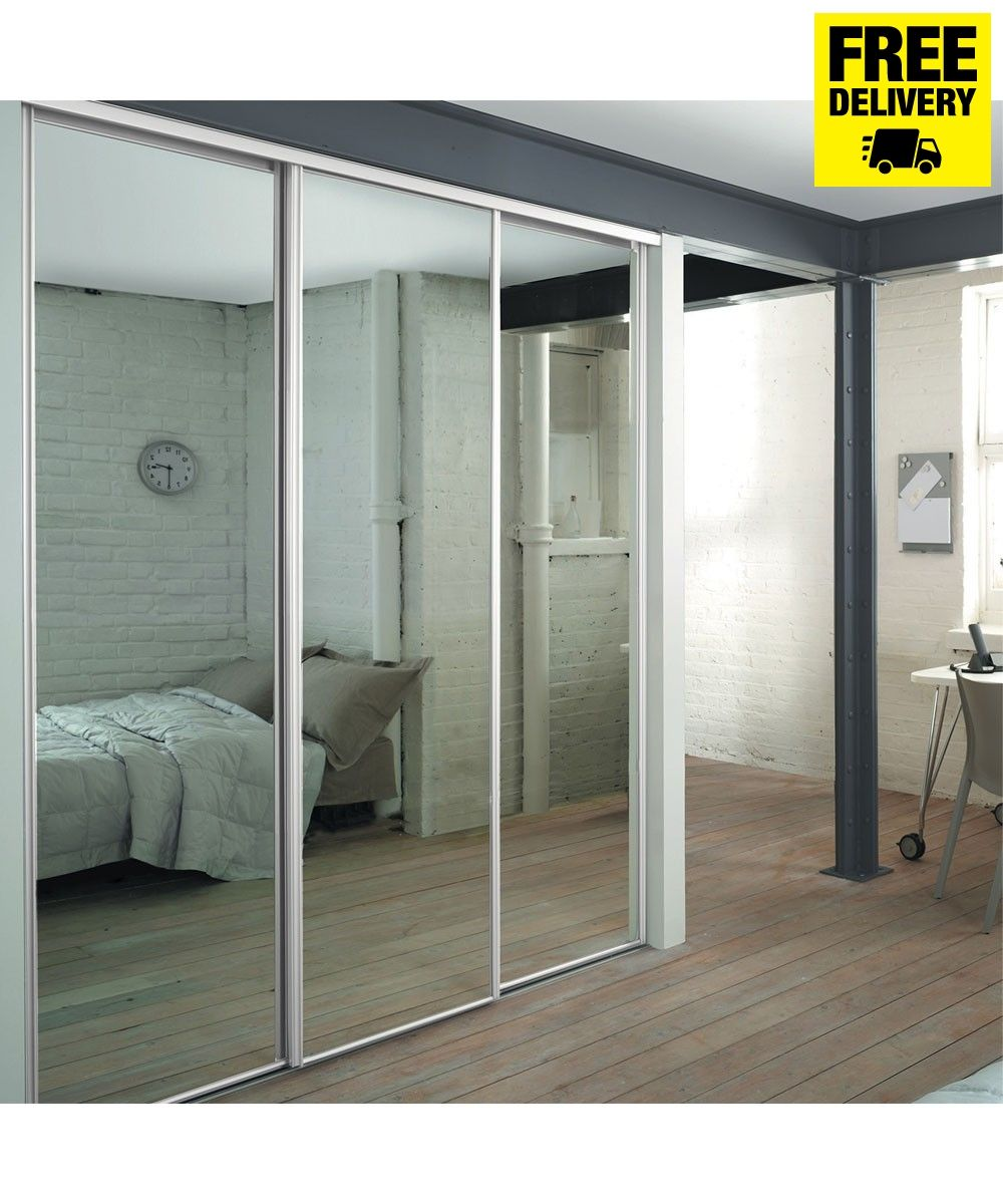 3 White Frame Mirror Sliding Wardrobe Doors With Track Sliding Mirror Wardrobe Doors Sliding Wardrobe Doors Wardrobe Doors