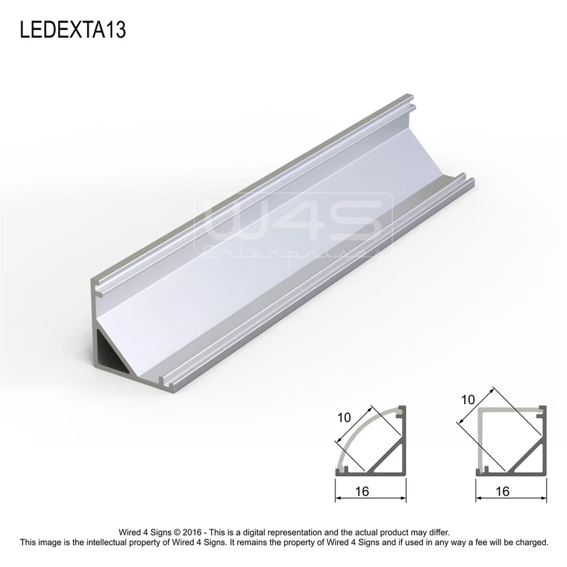 Corner Mount Led Strip Channel Model A13 Profile Only Wired4signs Usa Led Strip Lighting Strip Lighting Mounting Led Strips