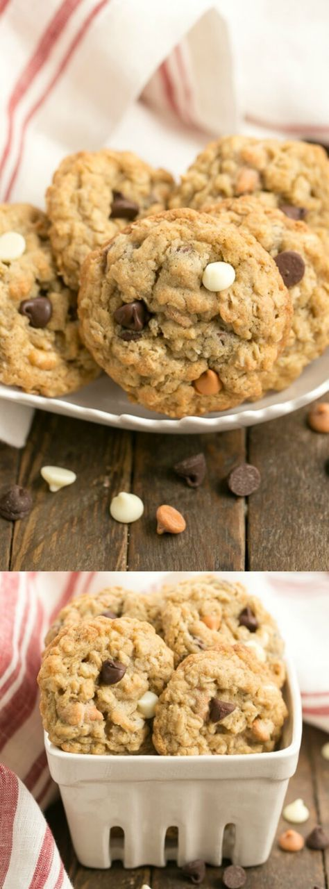 These Triple Threat Oatmeal Cookies from That Skinny Chick Can Bake are full of chocolate chips, white chocolate chips, and butterscotch chips! They are buttery, chewy, and chock full of deliciousness!