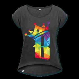 """T-shirt Femme """"B color"""" T-shirt Femme à manches retroussées Tee shirt Femme dans un style Boyfriend décontracté. 60 % coton, 40 % polyester. Marque : Hi5   Détails T-shirt Femme noir chiné """"B color"""" disponible dans plusieurs couleurs et tailles. Prix abordable et motifs géniaux pour t-shirt"""