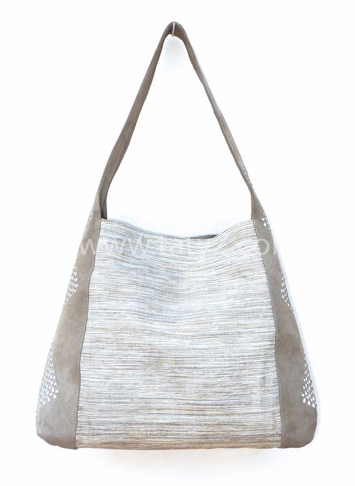 Grey  suede and  cotton tote by TATYZ