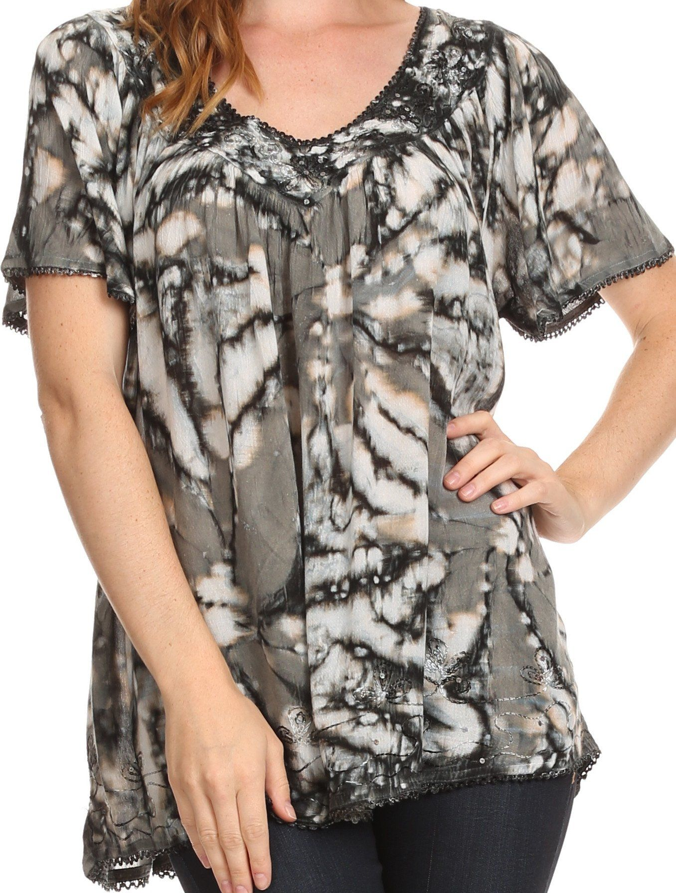 e3a5aa3803 Sakkas Laylah Long Wide Short Sleeve Embroidery Lace Sequin Blouse Shirt  Tunic Top