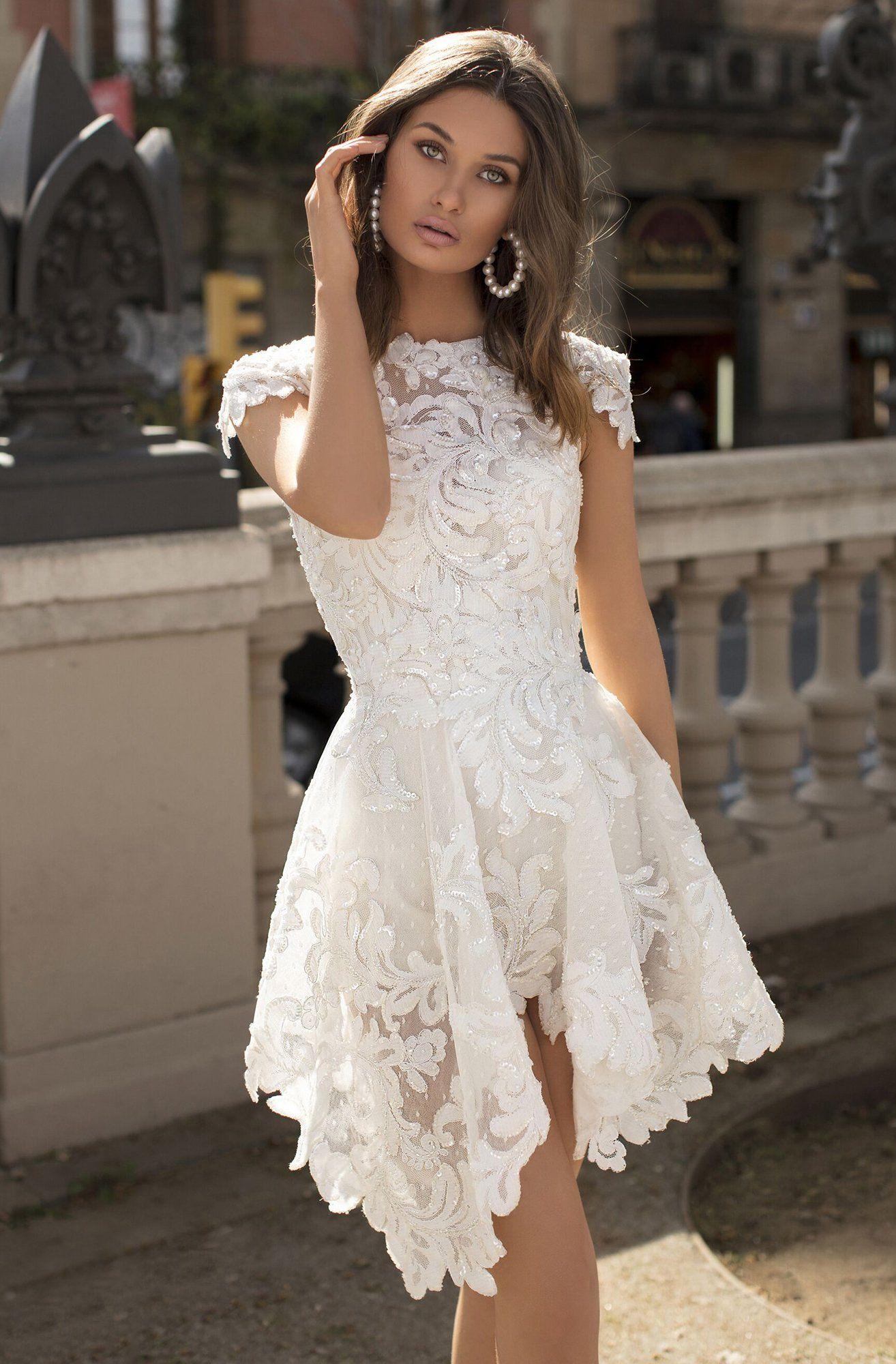 Tarik Ediz 93895 Bateau Lace A Line Short Dress In 2021 Civil Wedding Dresses Bride Reception Dresses Short Wedding Dress [ 2000 x 1314 Pixel ]