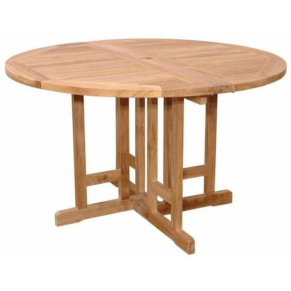 Anderson Teak Butterfly X Inch Teak Folding Patio Dining Table - Round teak patio table and chairs