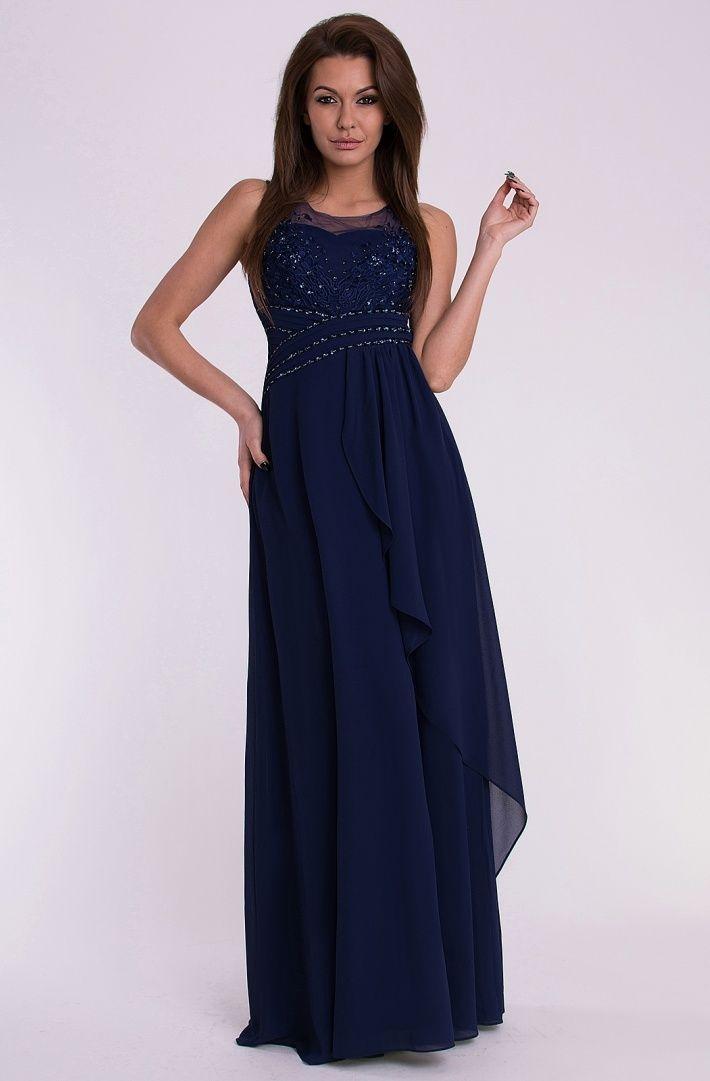 Dámské dlouhé plesové společenské šaty. Top je zdobený výšivkou a flitry. V  zadní partii pružné žabičkování. 8eb3427318